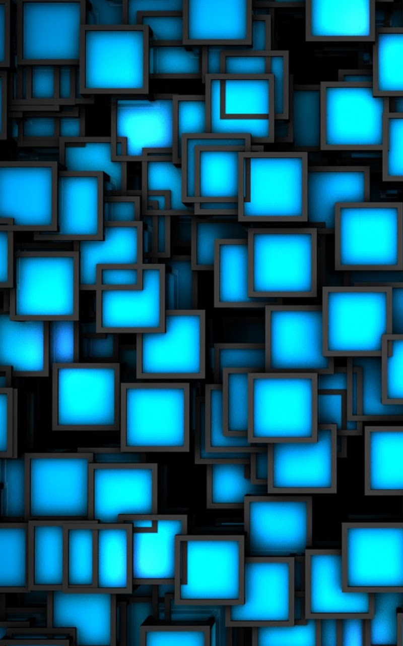 Galaxy Note HD Wallpapers: 3D Blue Neon Cubes Galaxy Note ...