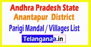 Parigi Mandal Villages Codes Anantapur District Andhra Pradesh State India