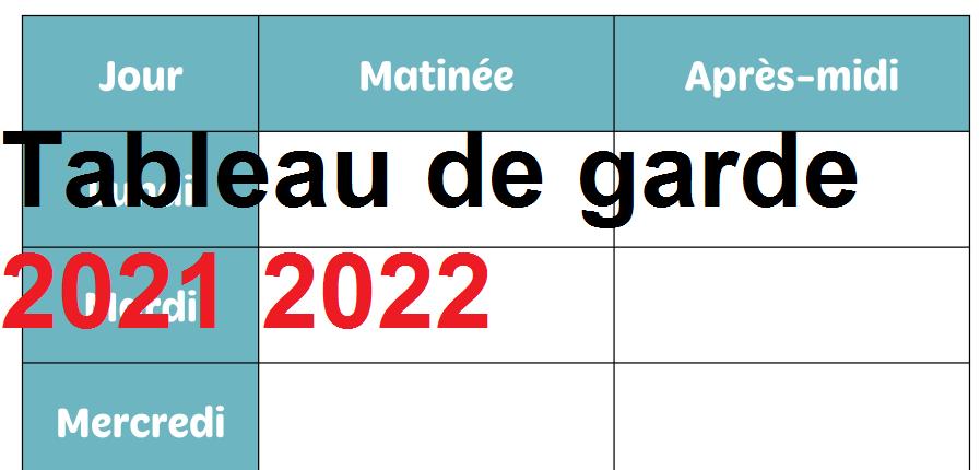 Tableau de garde 2021 2022