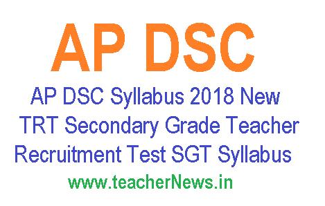 AP DSC SGT Syllabus 2018 New – TRT Secondary Grade Teacher Recruitment Syllabus PDF