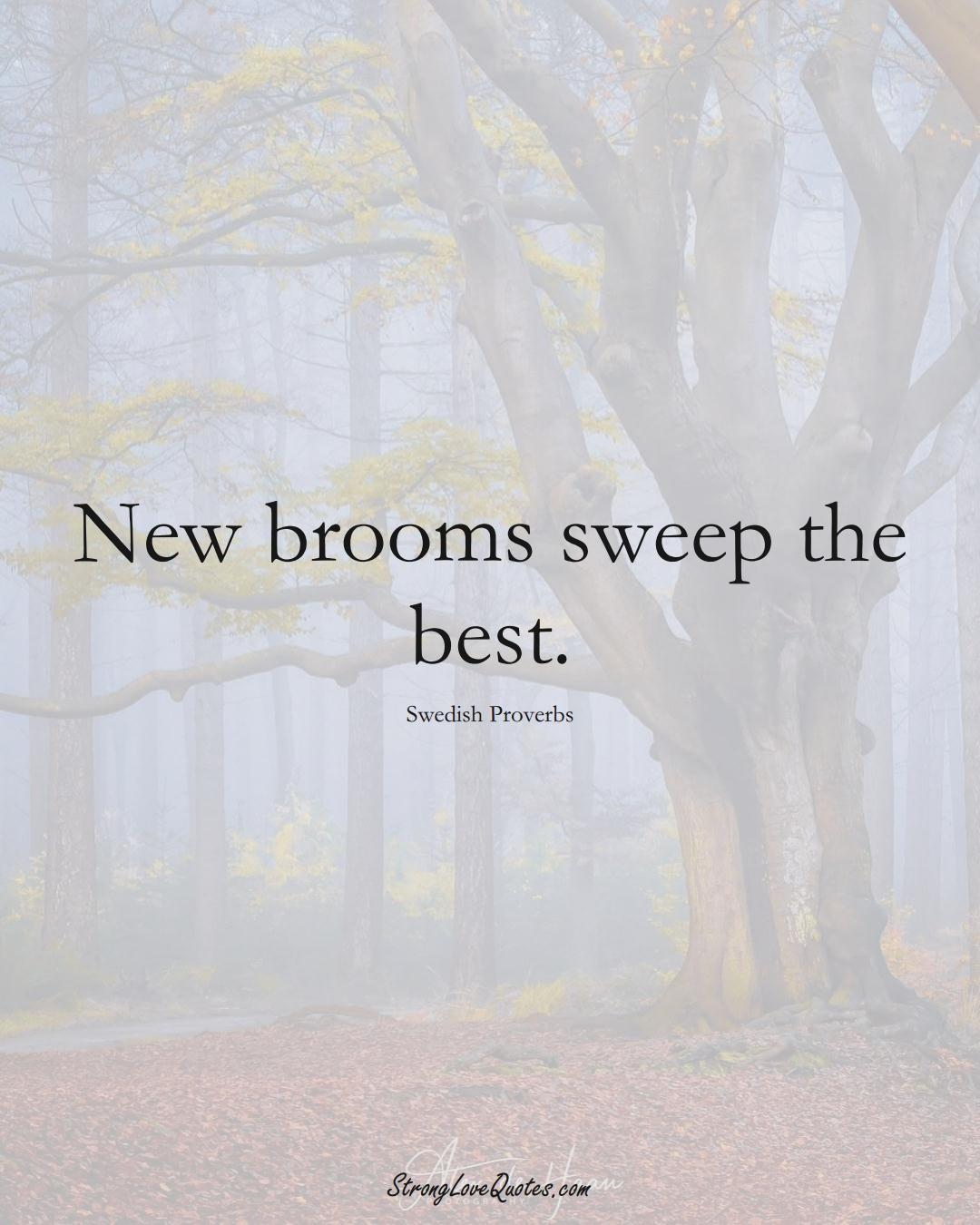 New brooms sweep the best. (Swedish Sayings);  #EuropeanSayings
