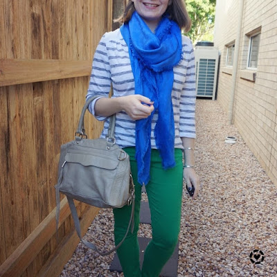 awayfromblue Instagram | SAHM style with cobalt shawl and green skinny jeans