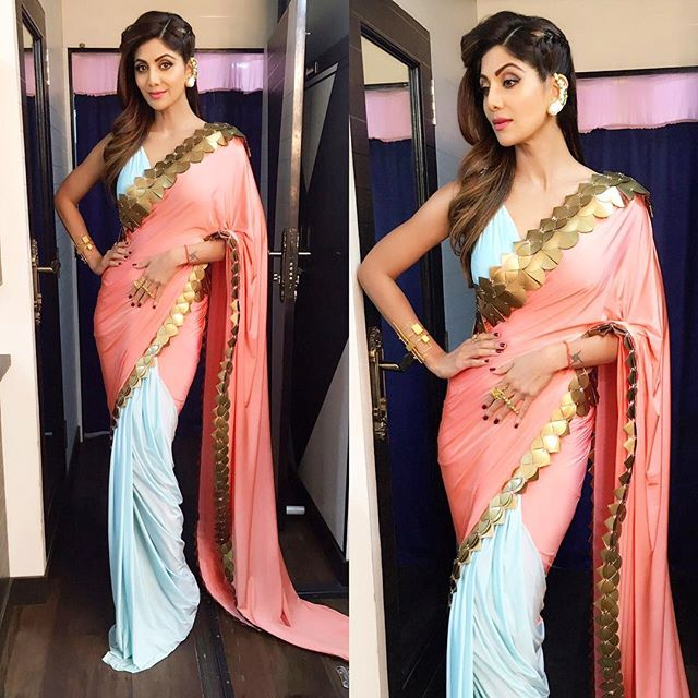 Shilpa Shetty in Pastel Blue and Pink Combination Half and Half Saree by Shivan and Narresh