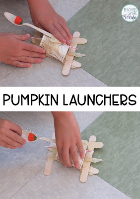 STEM Challenge: Use materials to create a device that will propel a small candy pumpkin!