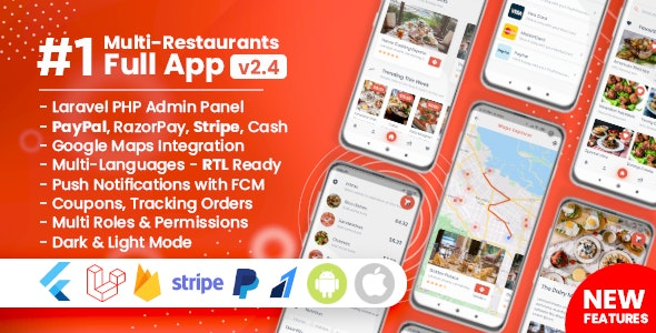 Food Delivery Flutter +PHP Laravel Admin Panel