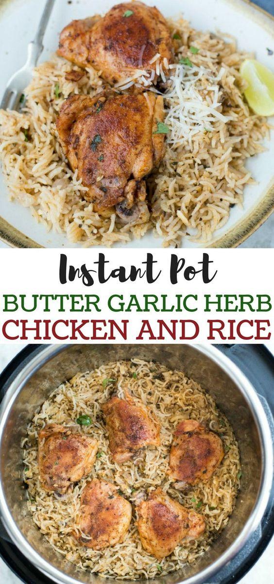 Instant Pot Garlic Herb Chicken and Rice #maincourse #dinner #american #instantpot #chicken #rice