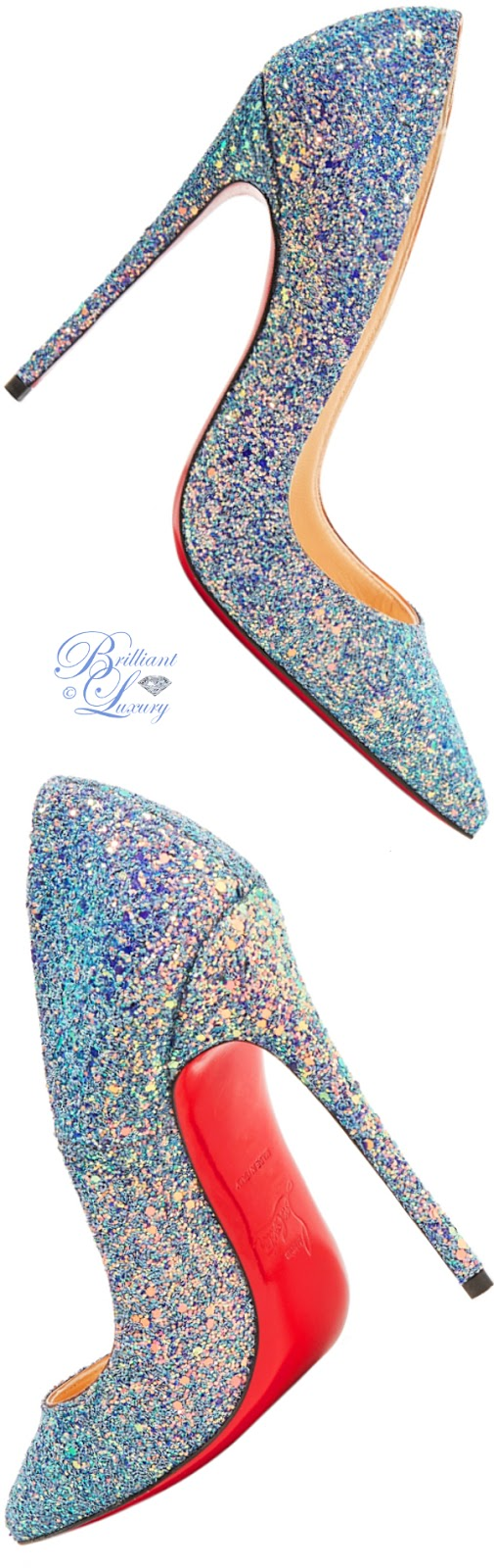 Brilliant Luxury ♦ Christian Louboutin So Kate Dragonfly glittered leather pumps