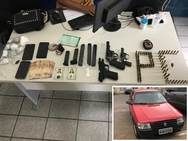 Veículo, drogas e armas são apreendidos pela Polícia Civil, em Anagé