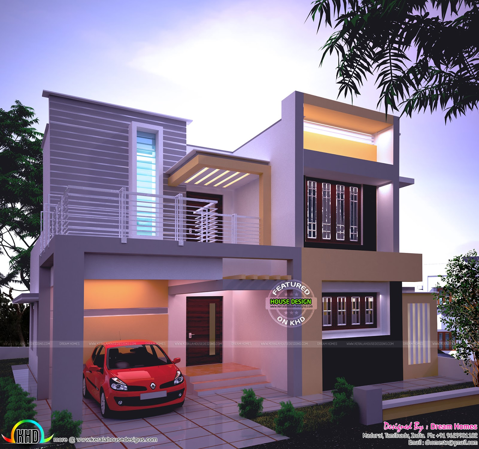 1538 sq ft beautiful modern house in night view