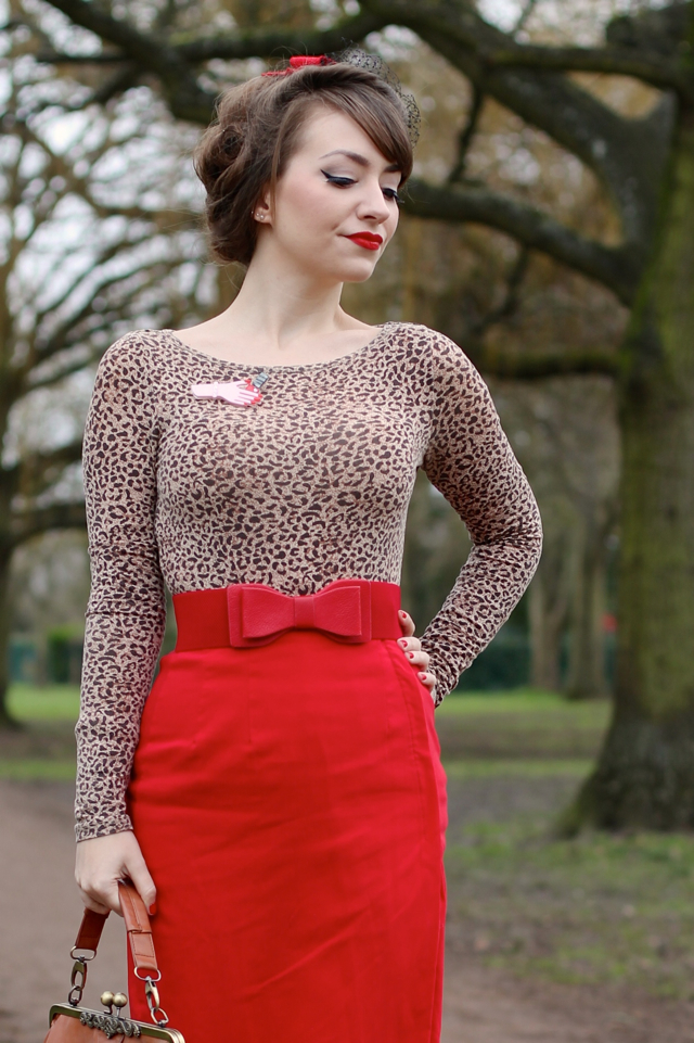 Leopard print with red outfit