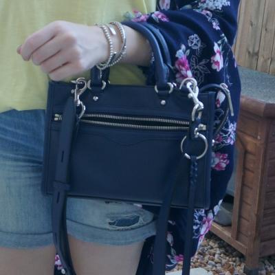yellow tee, floral kimono and navy Rebecca Minkoff Micro Bedford zip satchel in twilight | awayfromtheblue