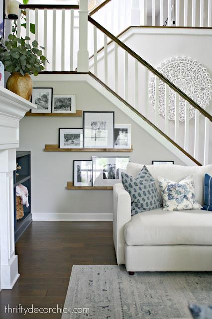 DIY picture ledge shelves family room