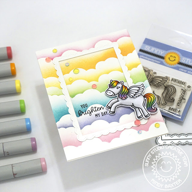 Sunny Studio Stamps: Prancing Pegasus Fluffy Cloud Border Dies Everyday Card by Mindy Baxter