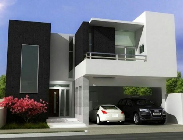 2-storey black and white domination house