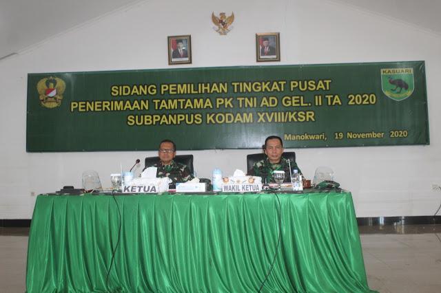 Pangdam XVIII/Kasuari Pimpin Sidang Pemilihan Tingkat Pusat Penerimaan Tamtama PK TNI AD Gel. II TA 2020 Sub Panpus Kodam XVIII/Kasuari