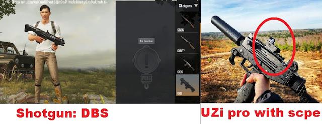 DBS shotgun, and New Uzi Pro