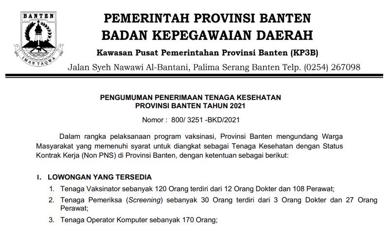 Rekrutmen Tenaga Kesehatan dan Operator Komputer Pada Pemerintahan Provinsi Banten Tahun 2021