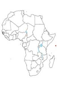 Mapa de localización de los países más chicos de África