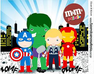 Etiqueta M&M de Los Vengadores Chibi para imprimir gratis.
