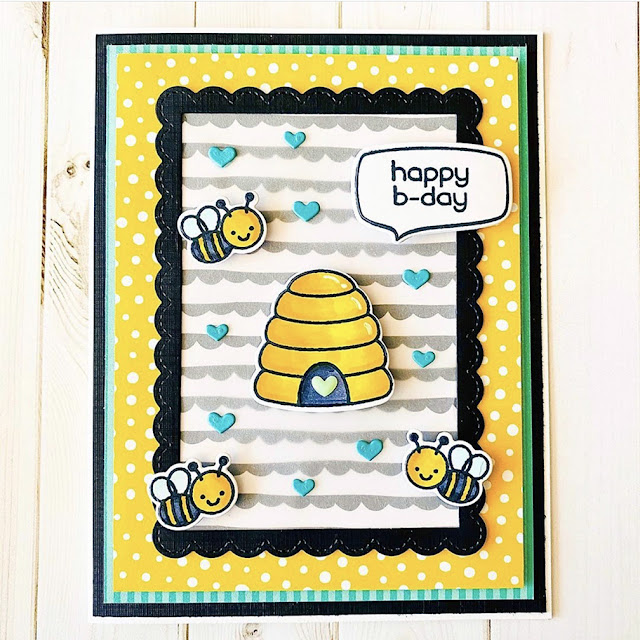 Sunny Studio Stamps: Just Bee-cause Customer Card by Stephanie