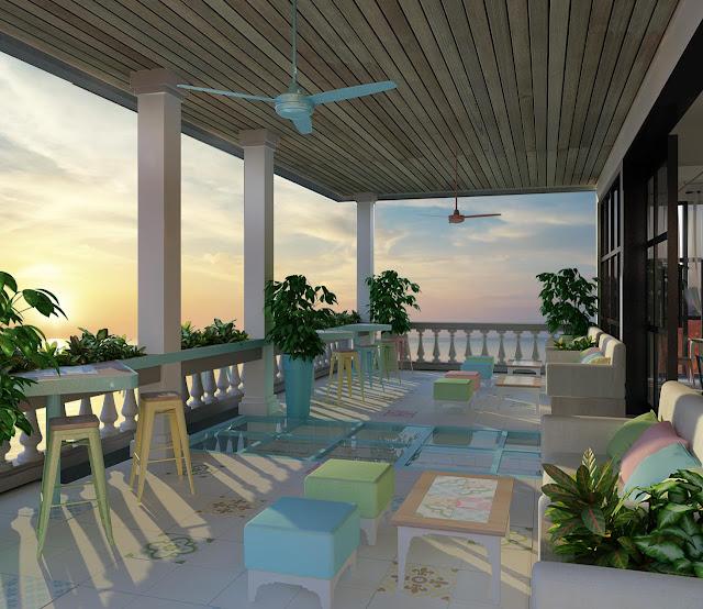 Không gian quầy bar-rooftop của khách sạn boutique