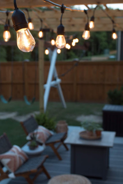 Gorgeous cafe lights over a Modern Patio