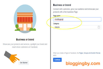 Select facebook brand page and category