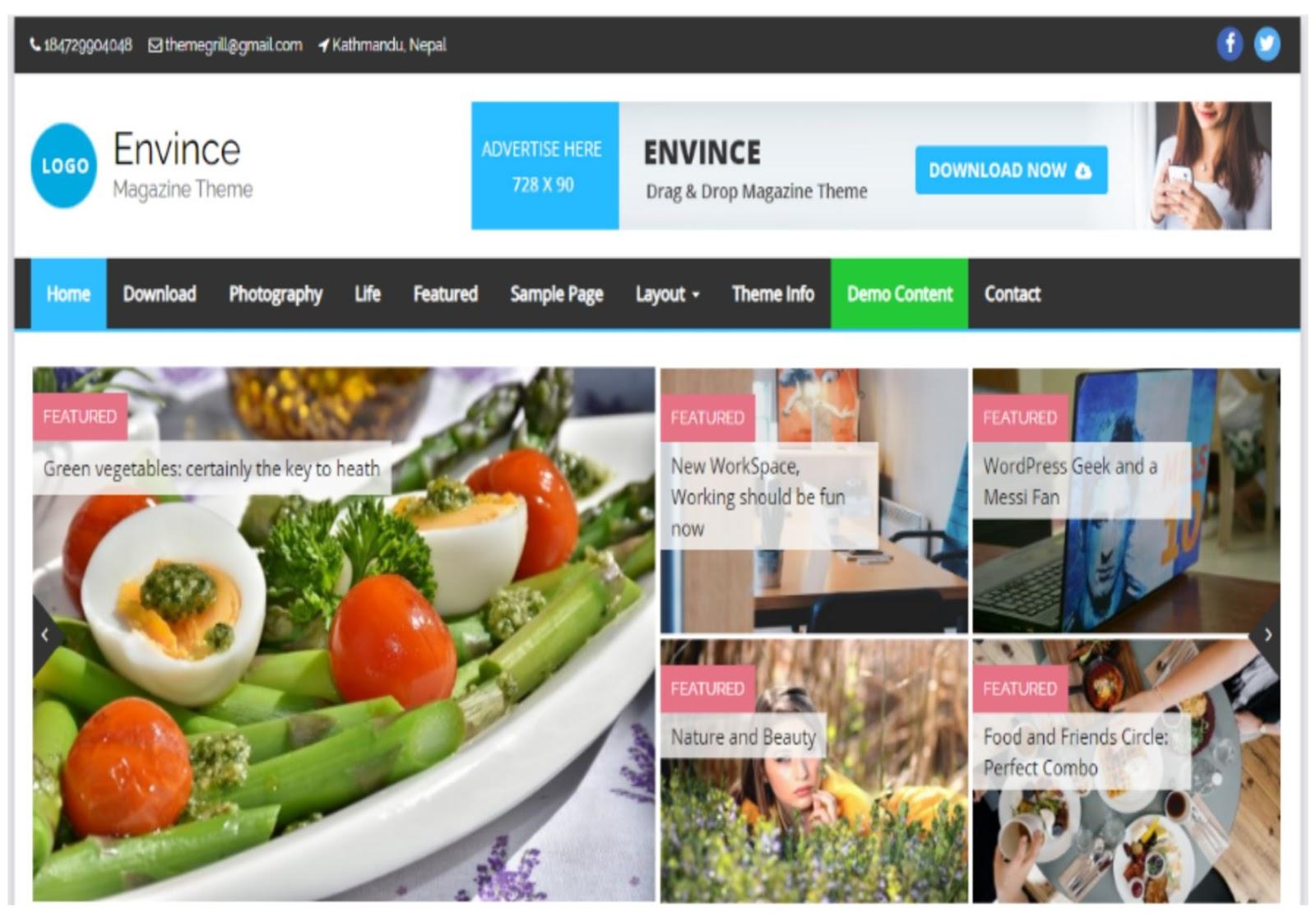 Envince WordPress Theme