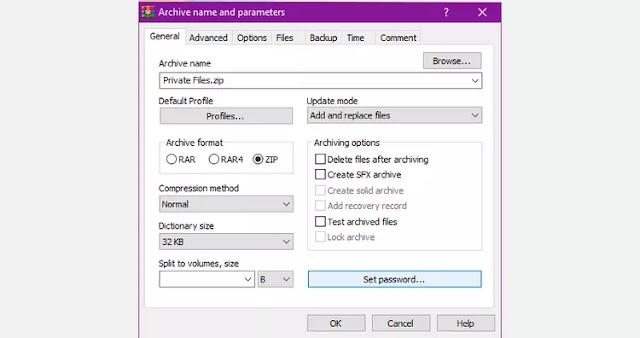 WinRAR encriptar y comprimir una captura de pantalla de archivo