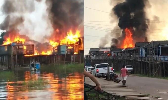 Incêndio destrói residências na Vila Nova em Itaituba