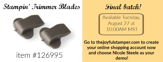 Stampin' Trimmer Blades available August 27 at 10:00AM MST Shop with Nicole Steele Stampin' Up demonstrator