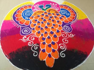 beautiful peacock rangoli