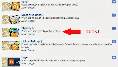 Etykiety w układzie bloggera