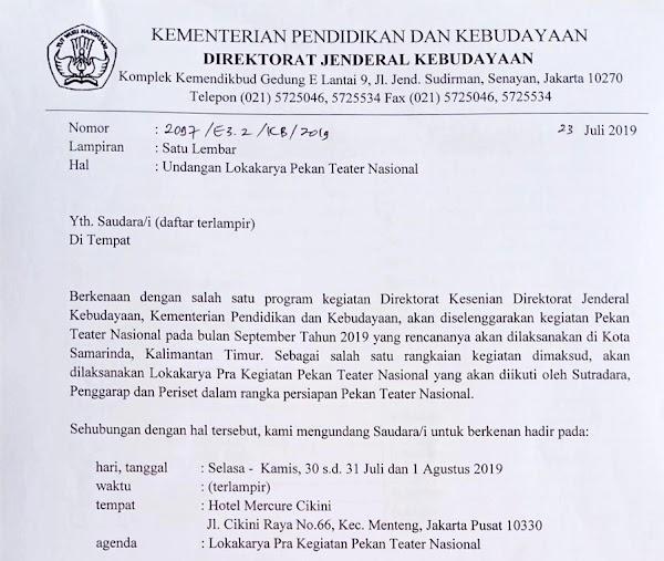 Direktorat Kesenian Undang Marhalim Zaini Ikuti Lokakarya Pekan Teater Nasional 2019
