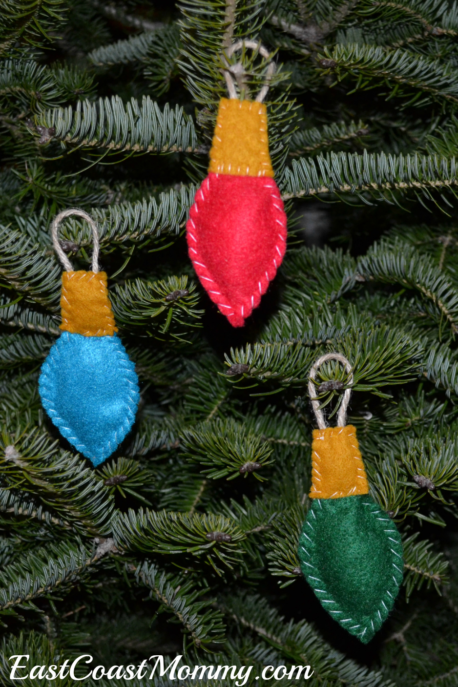 East coast mommy felt lightbulb ornaments - How to make felt christmas decorations ...