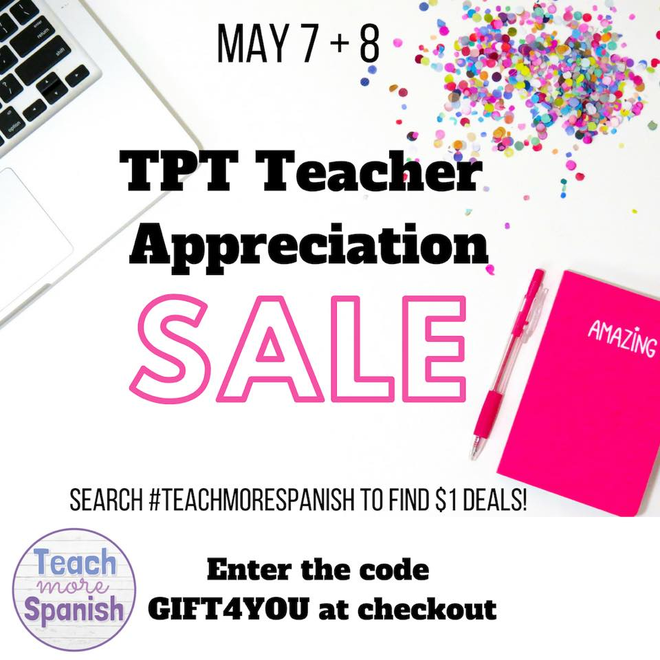 Teacher Appreciation - No prep resources for Spanish class at a steal! - shared by Mis Clases Locas