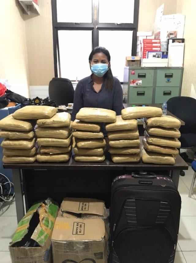 Penangkapan Seorang Wanita  Bawa Puluhan Kilogram Ganja