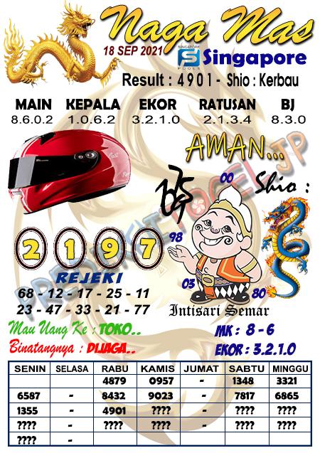 Syair Naga Mas SGP Sabtu 18 September 2021