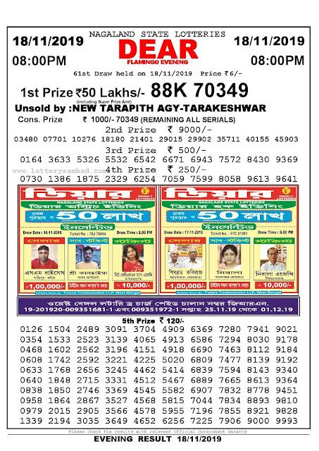 Lottery Sambad 18-11-2019 Nagaland Lottery Result 8 PM-Sambadlottery.org