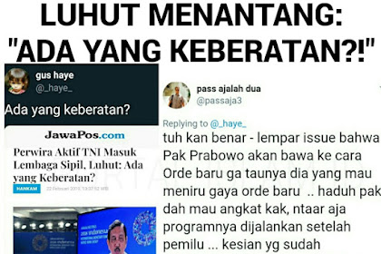 Perwira AKTIF TNI Masuk ke Lembaga Sipil, Luhut TANTANG: Ada yang Keberatan?