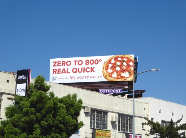 Zero to 800° DoorDash pizza billboard