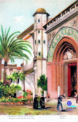 Sevilla - Fachada de la Iglesia del Convento de Santa Paula (Postal de 1905) - Stengel&Co - Dresde