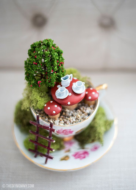 How to make a tea cup fairy garden from a thrifted tea cup.