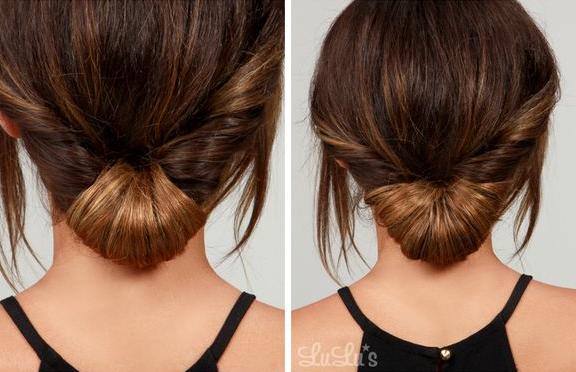Bungkus rambut ke bagian tengah