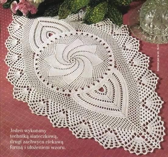 Trilho de mesa ou caminho de mesa em crochê com gráfico