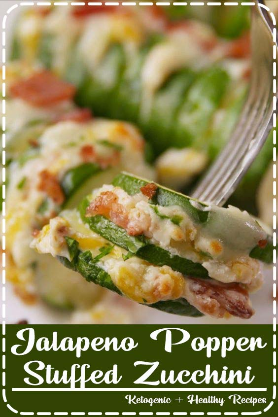 we sliced it hasselback style and stuffed it with jalapenos Jalapeno Popper Stuffed Zucchini