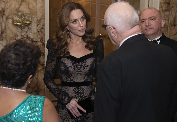 Kate Middleton wore Alexander McQueen lace gown, Jewelery Erdem floral hoop drop earring, Jimmy Choo celeste clutch