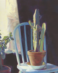 "s o l d: POTTED CACTUS ON A PAINTED CHAIR; casein; 10"" x 8"""
