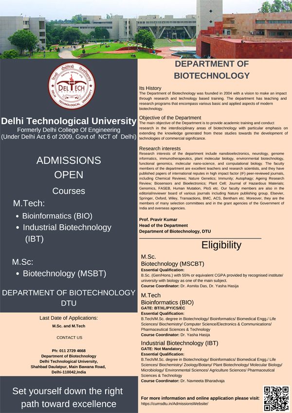 MTech Bioinformatics and Industrial Biotechnology Admissions 2021 @ DTU