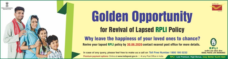 Golden Opportunity for Revival of Lapsed PLI / RPLI Policy ...